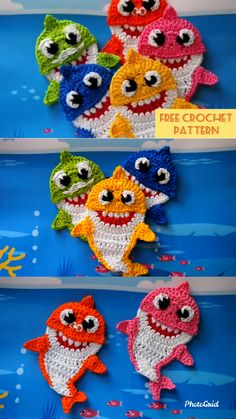My kids absolutely in love with Baby Shark song. So I need to make the Baby Shark Family for them. My kids absolutely in love with Baby Shark song. So I need to make the Baby Shark Family for them. Crochet Applique Patterns Free, Crochet Motif, Amigurumi Patterns, Baby Patterns, Free Pattern, Crochet Appliques, Crochet Keychain Pattern, Felt Patterns, Loom Patterns