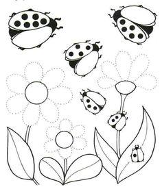 Weather Activities For Kids, Spring Activities, Art Worksheets, Kindergarten Worksheets, Flower Coloring Pages, Colouring Pages, Preschool Writing, Preschool Activities, Baby Ladybug