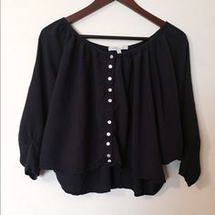 Navy Blouse Dark blue/navy blouse. Slightly cropped. Good quality. Urban Outfitters Tops Blouses