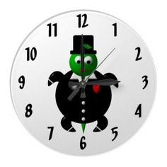 Cute Turtle in a Tuxedo Clock