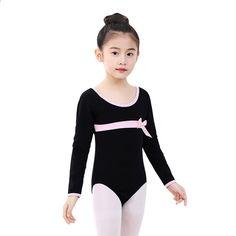 51fbc0d89a Niñas Ballet Leotardos Dancewear Bodysuits Niños Niños Manga larga Pajarita  Atlética Gimnasia Disfraces