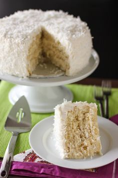 The Ultimate Moist, Fluffy Coconut Cake, from Willow Bird Baking (with coconut pastry cream filling, a coconut syrup, and coconut buttercream).