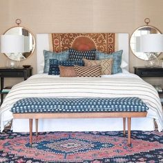 These are pieces of cloth, draped across the headboard and on the bench Tapestry Finds—And How To Use Them - Emily A. Clark