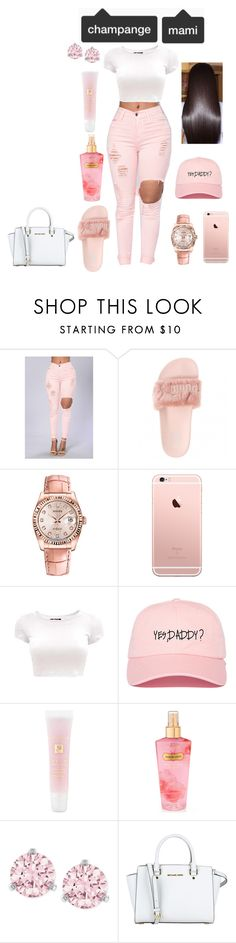"""""""Rose pink"""" by curlss-wavyy-sexy on Polyvore featuring Rolex, Lancôme, Victoria's Secret, Swarovski and MICHAEL Michael Kors"""