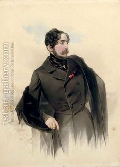 В.Гау   Portrait-Of-Count-De-La-Ferronnays-With-A-View-Of-St.-Petersburg-Beyond