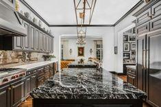 Fireplace Feature Wall, Foyer Flooring, Stone Gallery, Kitchen Models, Best Kitchen Designs, Modern Farmhouse Kitchens, Minimalist Kitchen, Marble Countertops, Black Marble