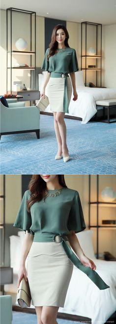 Romantic & Trendy Looks, Styleonme - Moldes Moda Trend Fashion, Work Fashion, Asian Fashion, Womens Fashion, Fashion Design, Work Attire, Mode Style, Skirt Outfits, Work Outfits
