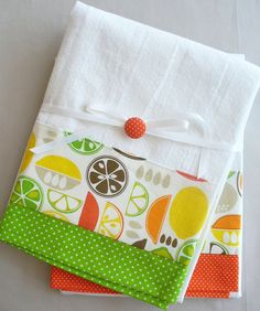 Kitchen towels with lemon, lime and orange fruit slices cotton fabric accent - set of two flour sack towels
