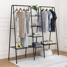 Multi-Function Garment Rails Metal Clothes Rack Heavy Duty Clothing Racks with Slflves for Boxes Shoes Storage Brown Color