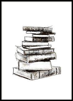 Schwarz-Weiß-Poster mit alten Büchern, Vintage.