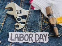 labor day background concept jeans many handy tools with labor day