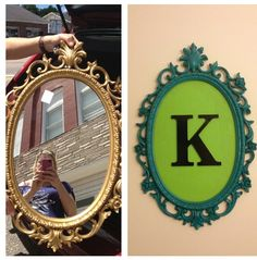 Old Mirror Frame. Painted and Monogrammed