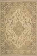 Delicate china bisque forms the lush color field of this supremely subtle and elegant rug, with accents of sprout green, beige and pale persimmon. A border of repeating Fleur-de-lis frames an airy design of delicate vines that wind around a central cartouche as if growing up a garden wall. Flat-woven rugs are unique due to their method of construction. Unlike knotted wool rugs, flat-woven rugs are made on a loom. They are thin with a very low pile, making them ideal for an entryway where ...