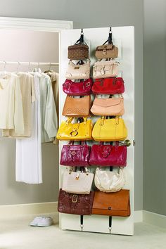Handbag Storage Solutions teafondknee asked: Any advice on how to store purses and bags? I have a ton but haven't found a good way to store them! Another fabulous question! Purse storage can be tricky. Door Storage, Closet Storage, Storage Rack, Extra Storage, Closet Racks, Storage Organizers, Storage For Purses, Bag Closet, Closet Space