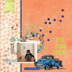 Fun Zone Ahead-A digital scrapbooking layout made with 2 digital scrapbooking kits by Amy Wolff at The Lilypad: Summer Dreamin' Elements, Summer Dreamin' Papers.