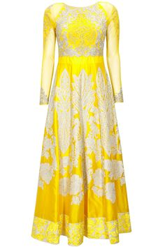 Yellow heavily embroidered anarkali set available only at Pernia's Pop-Up Shop.