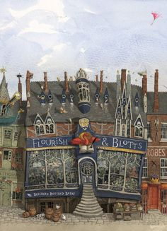 Flourish & Blotts, the Diagon Alley spot where Harry buys his books.//from the new illustrated edition of *Harry Potter and the Sorcerer's Stone* (illustrations by Jim Kay). Fanart Harry Potter, Harry Potter Jim Kay, Wallpaper Harry Potter, Arte Do Harry Potter, Harry Potter Drawings, Harry Potter Books, Harry Potter Universal, Harry Potter World, Hogwarts