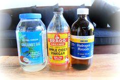 hydrogen peroxide. apple cider vinegar. coconut oil.
