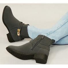 Teplá dámska členková obuv sivá s prackou na podpätku - fashionday.eu