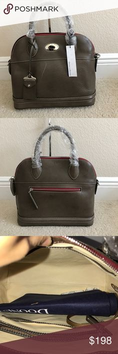 """Dooney & Bourke Florentine Toscana Domed Satchel Preown in good condition.  """"NO STRAPS """"Has some scratches front and back of purse. Some wrinkles front right side.back left side. Back has a small black stain not noticeable near back zipper. Measures approximately 12""""W x 10-1/2""""H x 6""""D weighs approximately 2 lbs, 2 oz Body/trim/lining 100% leather; pockets 100% nylon Dooney & Bourke Bags Crossbody Bags"""