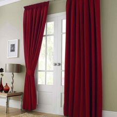 shiny satin curtains, YUM! | RED | Pinterest | Red living rooms ...