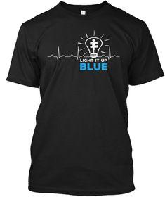 Light It Up Blue Heartbeat T Shirt Black T-Shirt Front