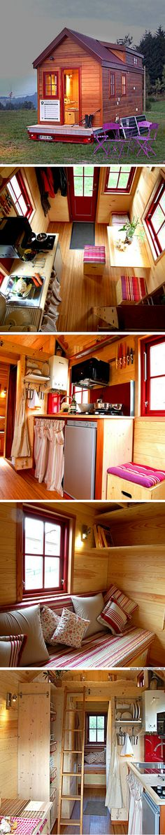 Tiny House Living: Milvus a two bedroom French tiny house Tiny House Cabin, Tiny House Living, Tiny House Plans, Tiny House Design, Tiny House On Wheels, Tiny House Movement, Cabins And Cottages, Tiny Spaces, House Goals