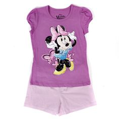 Minnie Mouse Glitter Hearts Shirt and Shorts