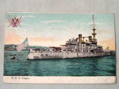 1900'S ANTIQUE NAVY POSTCARD U.S.S. USS BATTLESHIP OREGON MADE IN NEW YORK U.S.A