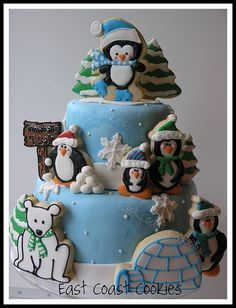 Penguins cake.  Love the use of cookies.