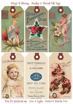 Wings of Whimsy: Needles & Thread Gift Tags - free for personal use #vintage #victorian #trade #card #sewing #printable