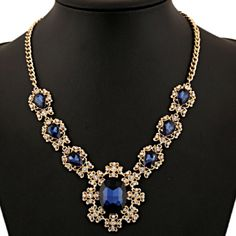 Golden Blue Gemstone Statement Necklace Beautiful and new! Jewelry Necklaces