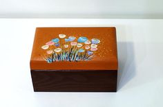 Decorative wooden box girls Wooden jewelry boxes Keepsake box Birthday Gift box Jewelry wooden box Brown floral jewelry box Flowers box