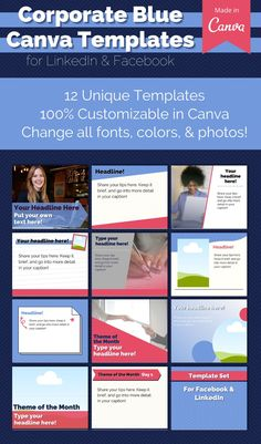 Professional, corporate template set for LinkedIn and Facebook. Save time and set yourself apart on social media, as you educate your audience. This 12-piece Corporate template set is fully customizable in Canva! All colors, photos, and fonts can be switched out or changed. Plus you can always copy any elements into a new Canva file!