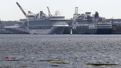 Three cruise ships are making unscheduled calls in Halifax, Nova Scotia this week due to hurricane Sandy.    A total of about 3,000 people aboard Navitrans's The World, NCL's Norwegian Dawn and Oceania's   Regatta are extending the city's cruise ship season for a few days.  30 Oct 2012