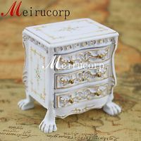 Fine 1/12 Scale Miniature Furniture White Grand Hand Carved Small Bedside Table