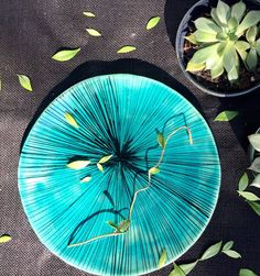 Plate Fruitplate stripy green plate by monalisapottery on Etsy