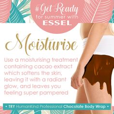 with Use a moisturising treatment containing cacao extract which softens the skin, leaving it with a radiant glow, and leaves you feeling super pampered TRY HumanKind Professional Chocolate Body Wrap Body Wraps, Body Treatments, Glow, How Are You Feeling, Leaves, Skin Care, How To Get, Chocolate, Feelings
