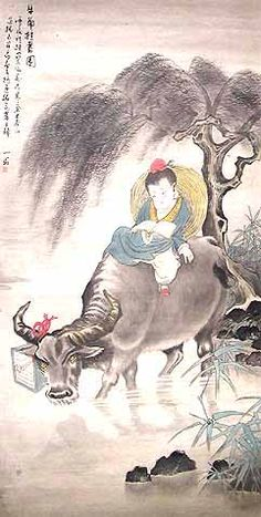 If you would like to own this or any of our paintings, enter code PINTEREST20 at checkout to get 20% off with free shipping anywhere in the world!! A Boy Riding on his Water Buffalo by Shan Ong | Miscellaneous Paintings | Original Chinese Traditional Art by Accomplished Chinese Artists o...