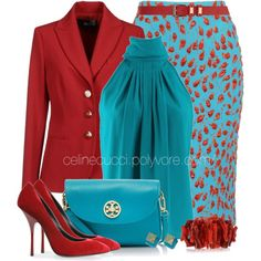 """Office Elegance - Turquoise & Red"" by celinecucci on Polyvore"