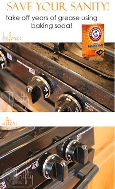 How To Clean Years of Grease Off Appliances :: Hometalk Only baking soda; wet the rag and sprinkle baking soda on it, scub appliances Deep Cleaning Tips, House Cleaning Tips, Diy Cleaning Products, Cleaning Solutions, Spring Cleaning, Cleaning Hacks, Weekly Cleaning, Cleaning Supplies, All You Need Is