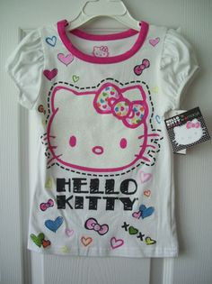 Girls Hello Kitty White T-Shirt Top Pink Trim Hearts Bows Size 5 | eBay