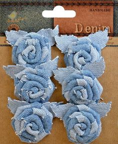 Little Birdie Crafts - Denim Collection - Roses with Leaves