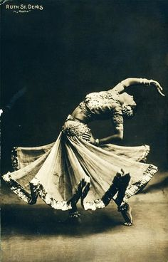 This is modern dance icon Ruth St. Denis in Radha, one of her works based on Indian mythology.