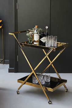 Casino Two-Tier Drinks Trolley - Bar Accessories - Kitchen Drinks Trolley, Bar Trolley, Serving Trolley, Home Bar Decor, Bar Accessories, Kitchen Accessories, Kare Design, Bars For Home, Furniture Decor