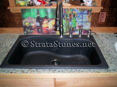 Mini Green Pebble Tile Kitchen Counter