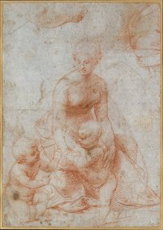 Raphael (Raffaello Sanzio or Santi) (Italian, 1483–1520). Madonna and Child with the Infant Saint John the Baptist; upper left, Study for the Right Arm of the Infant Saint John; upper right, Study for Drapery (recto); Study of a Nude Male Figure (verso), ca. 1506–7. The Metropolitan Museum of Art, New York. Rogers Fund, 1964 (64.47)