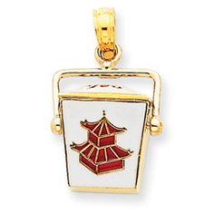 14k Yellow Gold 3D Enamel Chinese Take Out Box Charm *