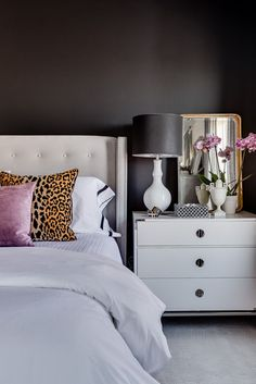 Night owls, rejoice—dark and moody bedroom designs are in. These breathtaking spaces have us swooning, and they're easier to achieve than you might expect. Romantic Bedroom Design, Fancy Bedroom, Bedroom Green, Bedroom Colors, Bedroom Sets, Home Decor Bedroom, Modern Bedroom, Bedroom Designs, Dark Romantic Bedroom