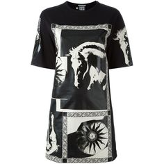 Fausto Puglisi T-Shirt Dress With White Print (¥24,185) ❤ liked on Polyvore featuring dresses, black, horse print dress, oversized t-shirt dresses, oversized t shirt dress, white dress and white tee shirt dress